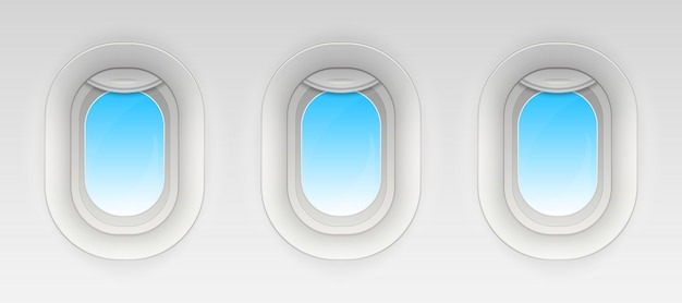 飛行機の窓、空の飛行機の舷窓を戦う。