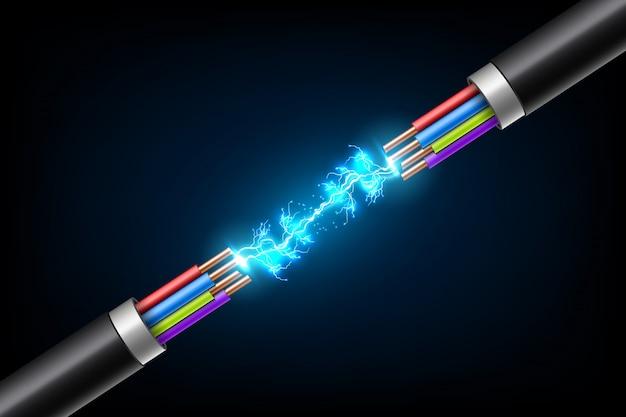 ブレイクケーブル間の電光雷。