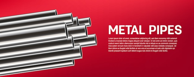 鋼鉄、アルミニウム、金属の管、管の積み重ね、ポリ塩化ビニール。
