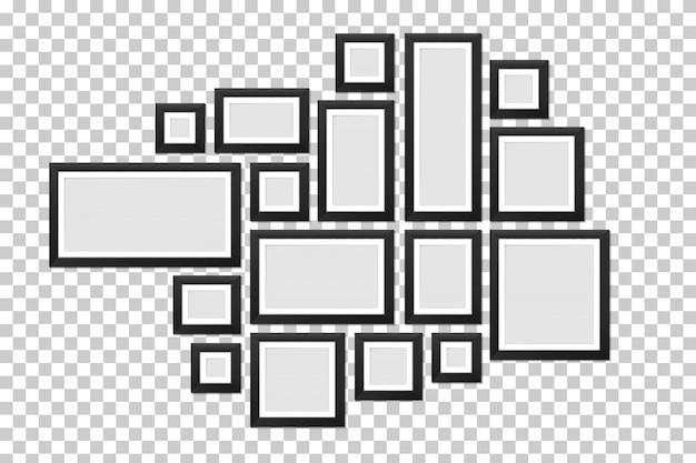 Настенные рамы для картин шаблон, пустое фото.