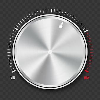 ダイヤルノブレベルの技術設定、金属製のボタン。