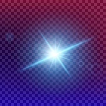 Сияющий световой эффект звезды взрывается блестками