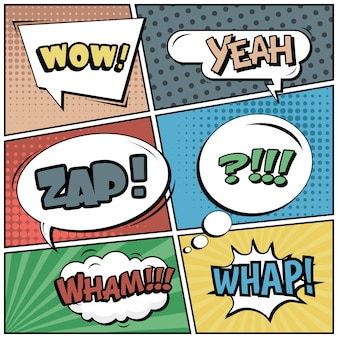 スピーチの泡とポップアートスタイルのコミックストリップやビネット:うわー、そう、ザップ、ワム!