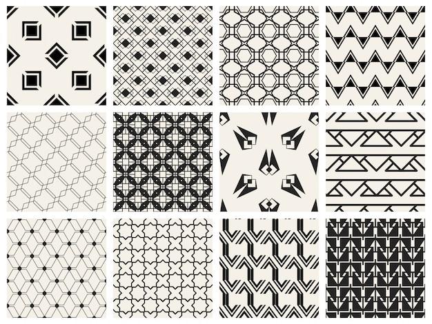 モノクロの幾何学的なシームレスパターンを設定します。