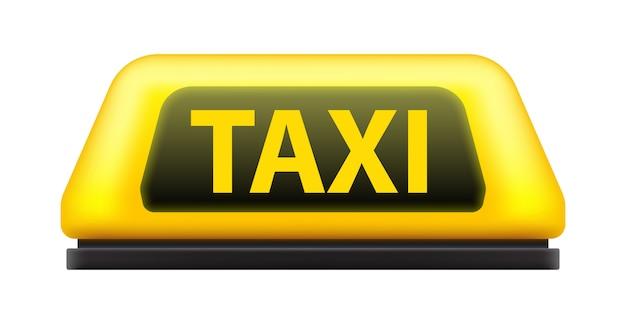 黄色のタクシーサービス車の屋根が通りに署名します。