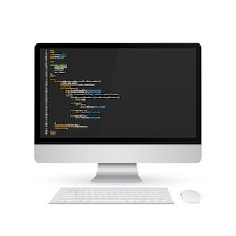 コンピューターの画面の背景にプログラミングコード。