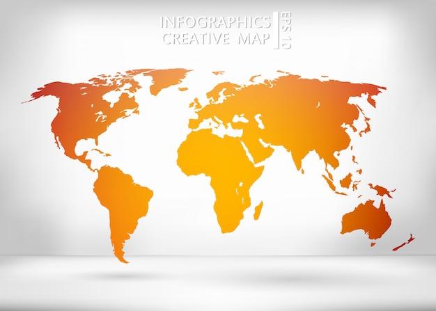 オレンジ色の世界地図。