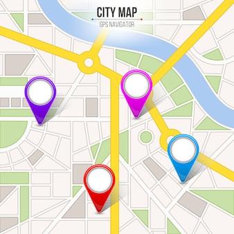 地図都市通り道路インフォグラフィックナビゲーション。
