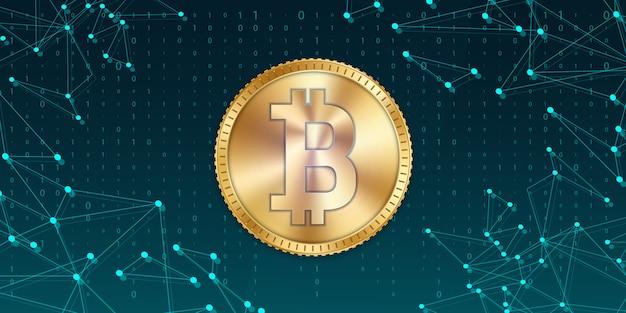 Золотая монета биткойн, валюта, криптовалюта.