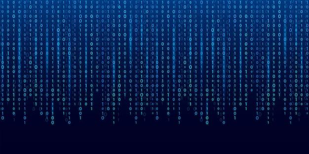 バイナリコードのストリーム。コンピューターマトリックスの背景。