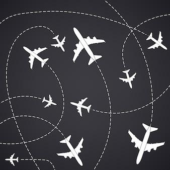 Самолет с пунктирными линиями пути. самолет небесный маршрут.