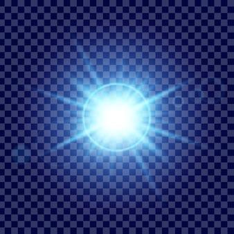Сияющий световой эффект звезды взрывается блестками.