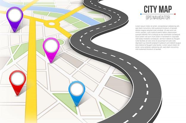 都市通り道路インフォグラフィックナビゲーションをマップします。