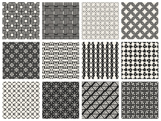 モノクロの幾何学模様の背景セット。