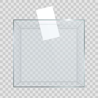 投票用紙が穴にある透明な投票箱。