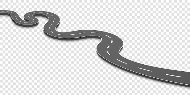 曲がりくねった道。マーキングのある高速道路。