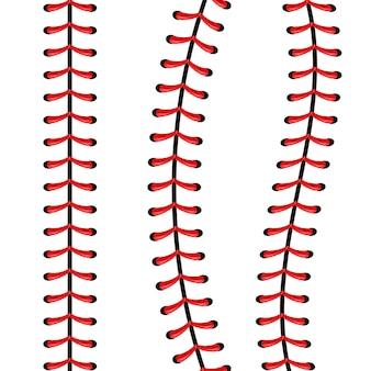 スポーツ野球ボールのステッチ、赤いレースの縫い目。