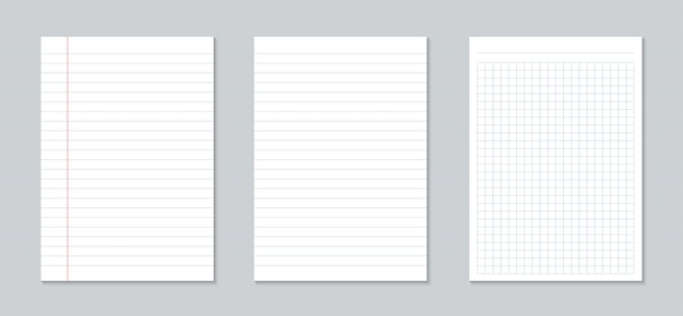 Квадрат, листы линованной бумаги, сетка страницы блокнота