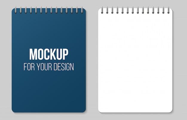 並んでノートブックとドット紙ページ空白モックアップ。