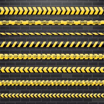 黒と黄色の警察ストライプボーダー。