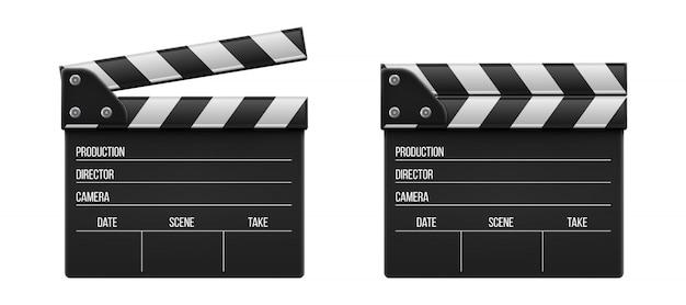 映画のカチンコ、クラッパー、映画のスレートボード。