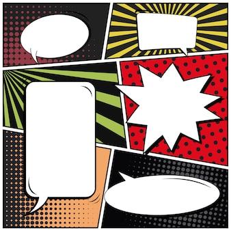 コミックポップアートスタイルの空白のバナー。
