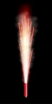 花火の火花の噴水は敬礼、柱。