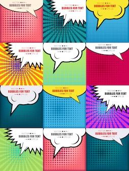 Комиксы поп-арт стиль пустой макет фона набор.