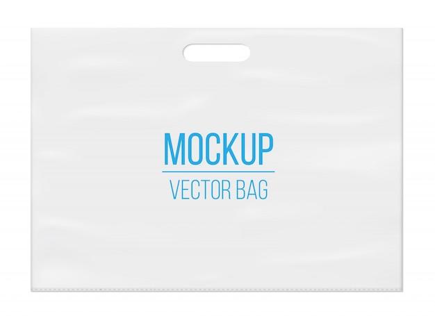 Шаблон макета пустой пустой белый пластиковый пакет.