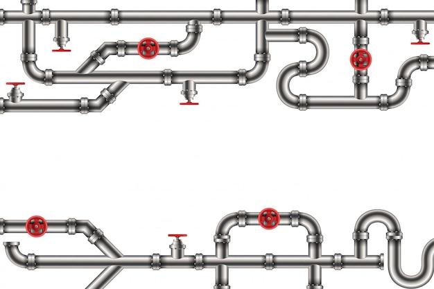 工業用オイル、水、ガス管システムの背景。