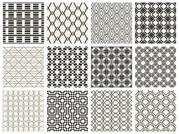 モノクロの幾何学的なシームレスパターン背景。