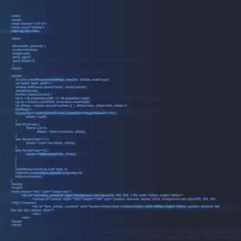 コンピューター画面の背景にプログラミングコード。