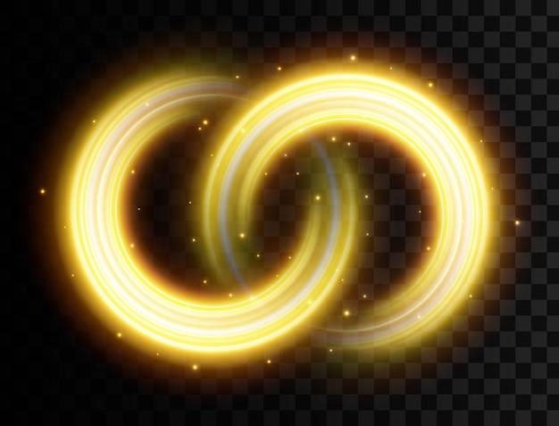 黄金色の光の効果、輝く波線、輝き。