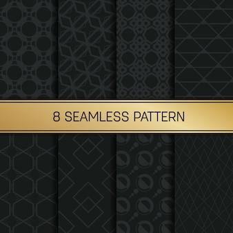 モノクロの幾何学的なシームレスパターンセット。