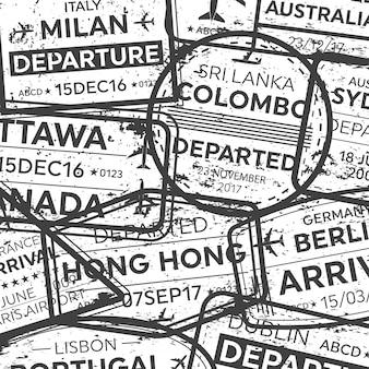 国際出張ビザパスポートスタンプ。