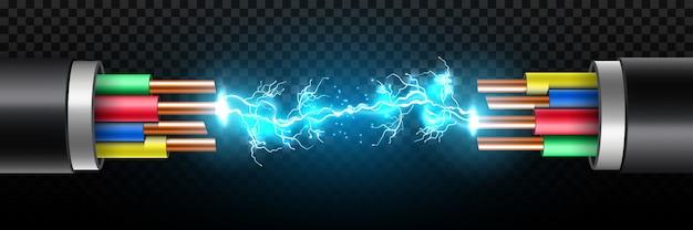 Электрические светящиеся молнии между обрывом кабеля.
