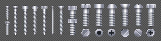 鋼製真鍮ボルト、金属ねじ、鉄釘、リベット。