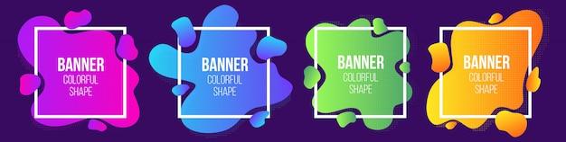 Геометрическая жидкость стиль простой формы рамки баннера.