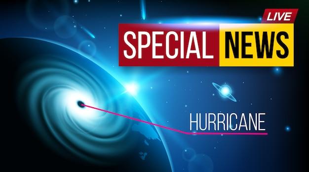 Ураганный циклон ветровой новостной баннер