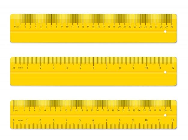カラフルな定規。測定ツールの供給。