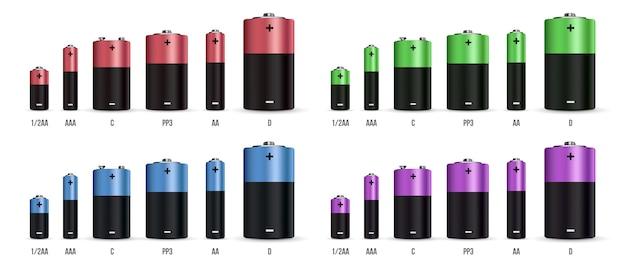 Реалистичный набор щелочных батарей.