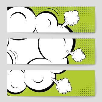 コミックポップアートスタイルの空白のバナーの背景。