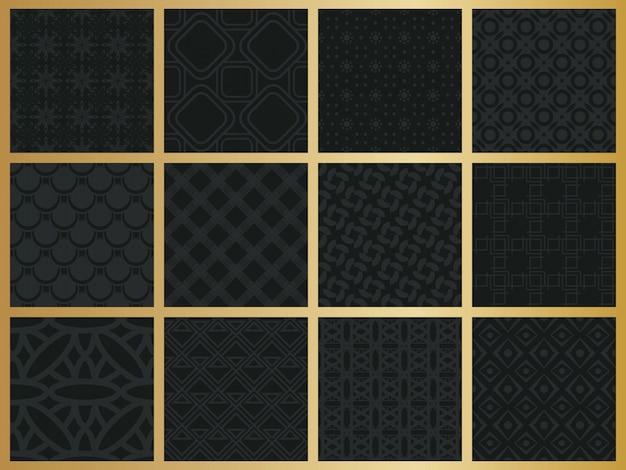 Монохромный геометрический рисунок набор.