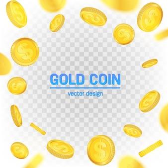 異なる視点を浮かぶ金のドル硬貨。