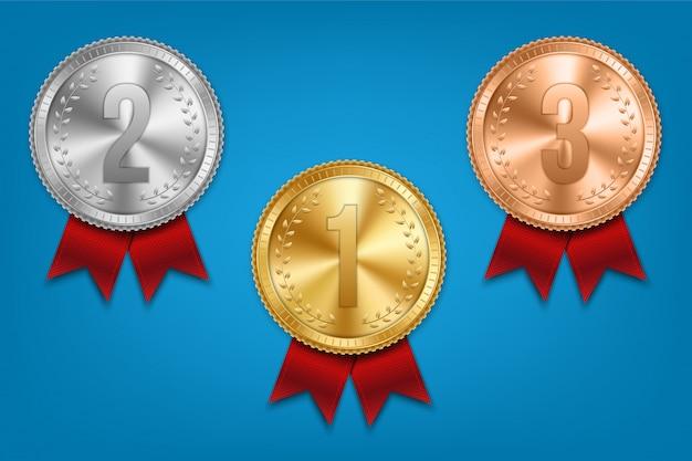 Золотая, серебряная и бронзовая медаль с комплектом ленты.