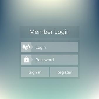 会員ログインフォームモバイルウェブインターフェース。