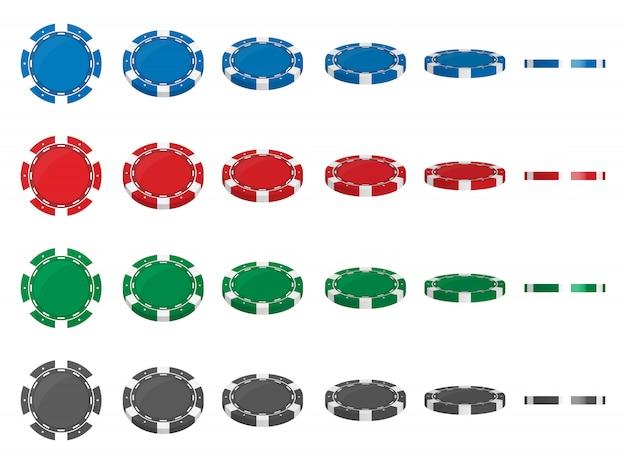 カジノのポーカー用のチップは異なる角度の位置を反転します。