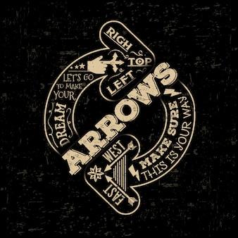 活版印刷の創造的な手描きのレトロな矢印。