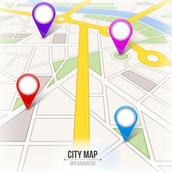 地図都市通り道路インフォグラフィックナビゲーション