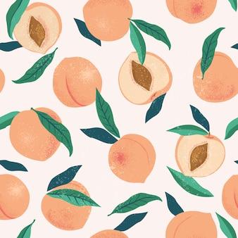 桃やアプリコットのシームレスパターン。